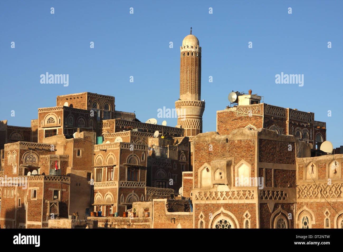 View of the Old City in Sana'a, Yemen, from the Bab al Yaman - Stock Image