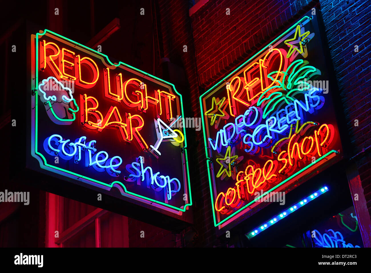 Neon lights of the red light bar coffeeshop where taking and smoking neon lights of the red light bar coffeeshop where taking and smoking drugs like marijuana is legal in the red light district in aloadofball Images