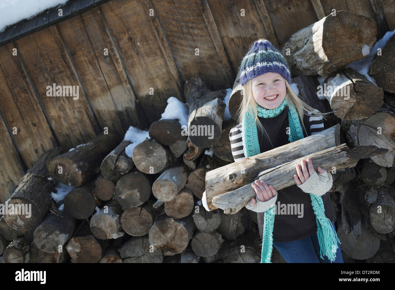 Winter scenery with snow on the ground A girl collecting firewood from the log pile - Stock Image