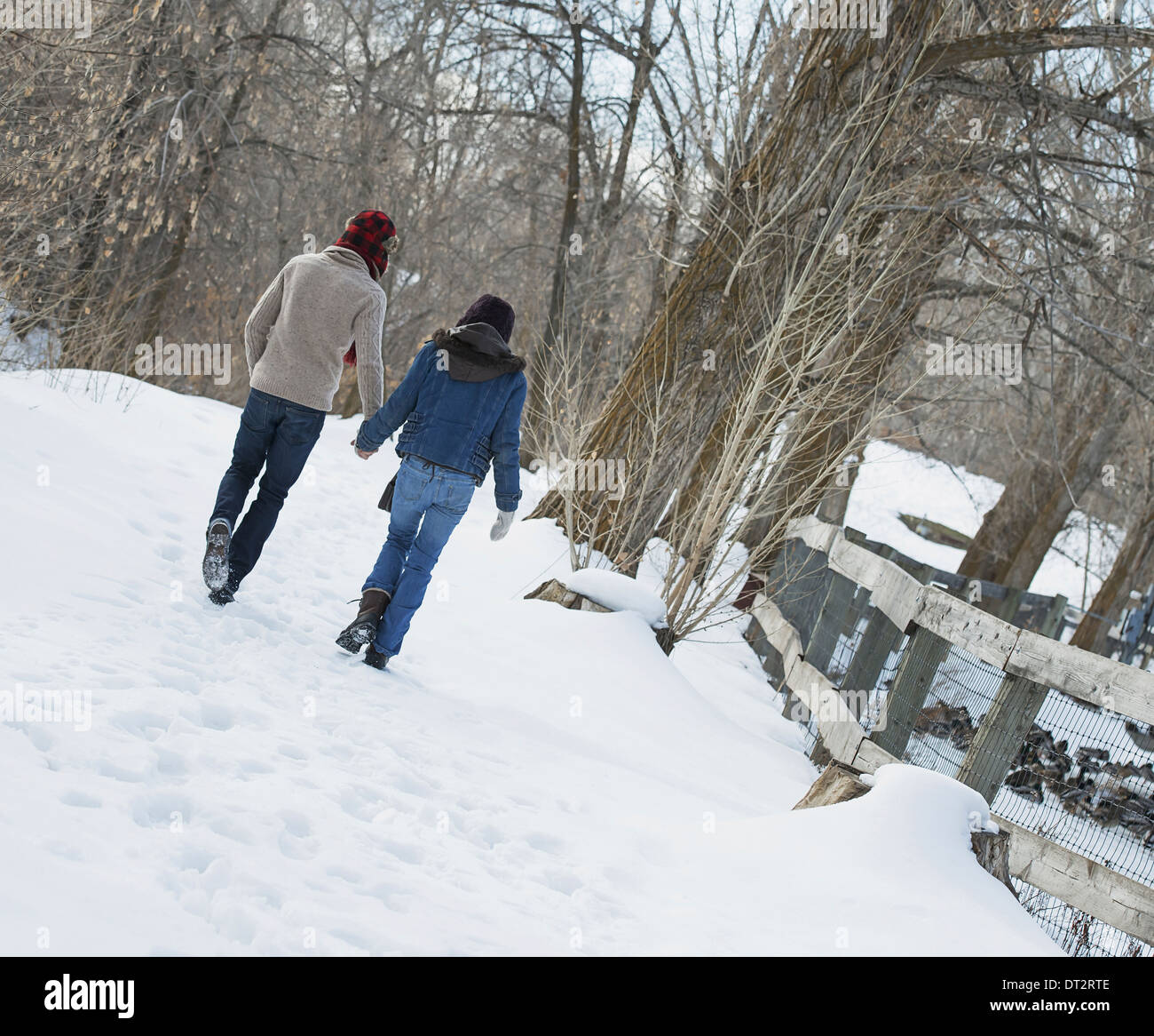 Winter scenery with snow on the ground A couple walking hand in hand along a path - Stock Image