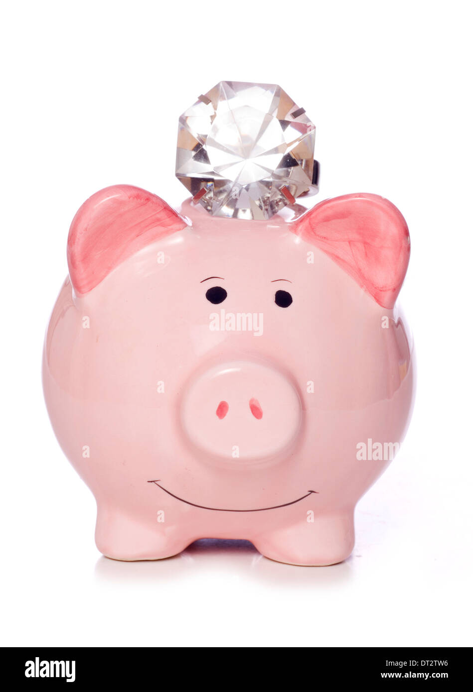 Wealthy saving piggy bank with diamonds cutout - Stock Image
