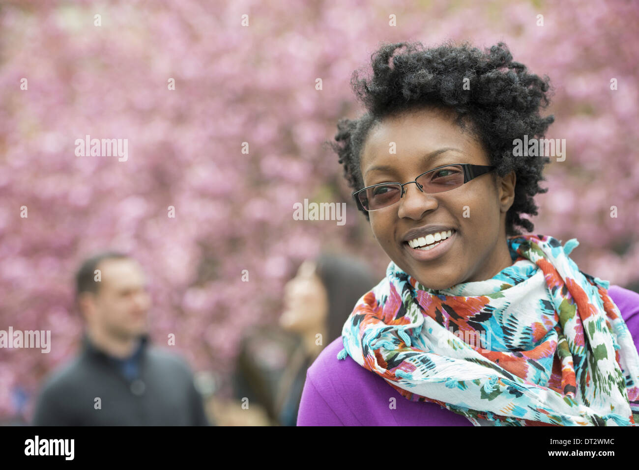 A group of people under the cherry blossom trees in the park A young woman smiling wearing a purple shirt and floral scarf - Stock Image
