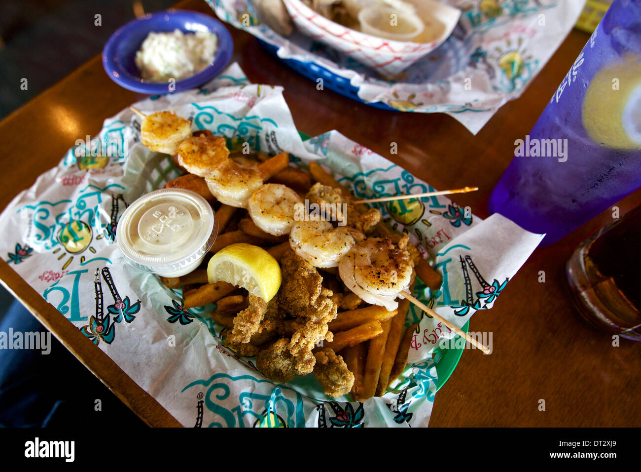 grilled shrimp and fried oysters at lucy buffet s lulu s burger and rh alamy com seafood buffet near gulf shores al seafood buffet near gulf shores alabama