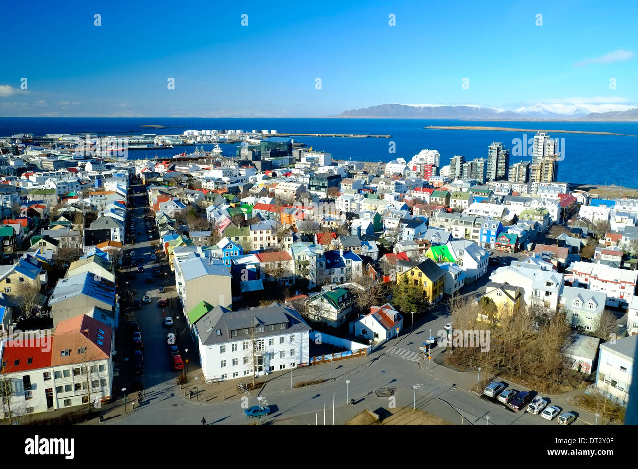 Elevated view over Reykjavic, Iceland - Stock Image