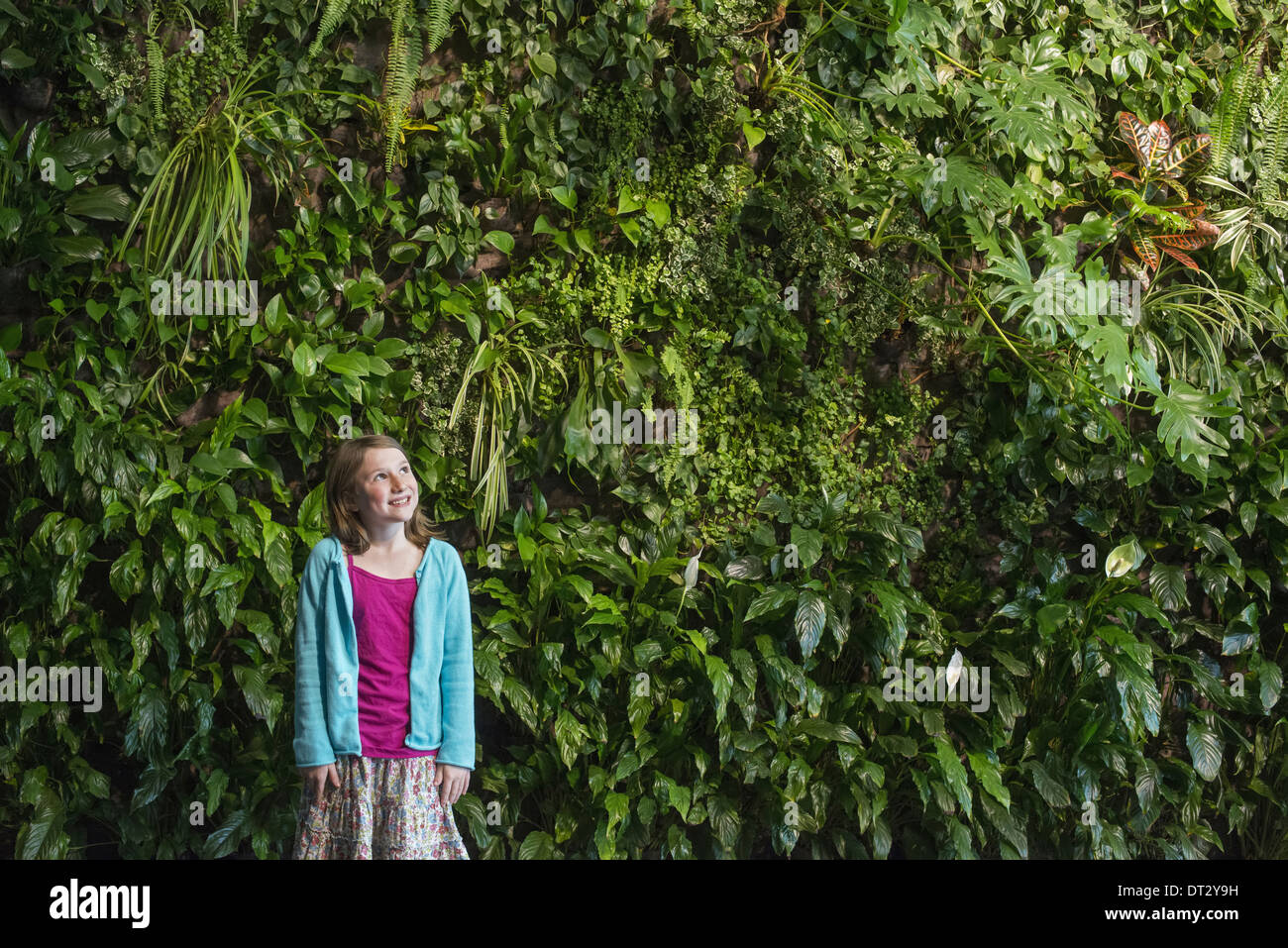 city in spring An urban lifestyle A young girl standing in front of a wall covered with ferns and climbing plants Stock Photo