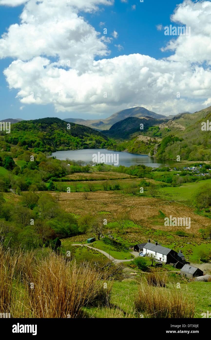 View over Nant Gwynant, Snowdonia National Park, North Wales - Stock Image