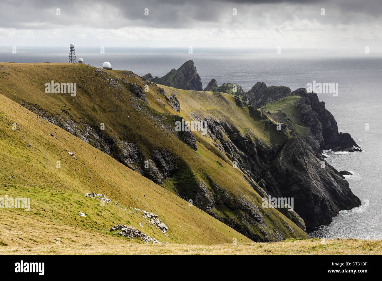 Looking towards Ruabhal and Dun on Hirta, St Kilda with radar towers visible on the skyline - Stock Image