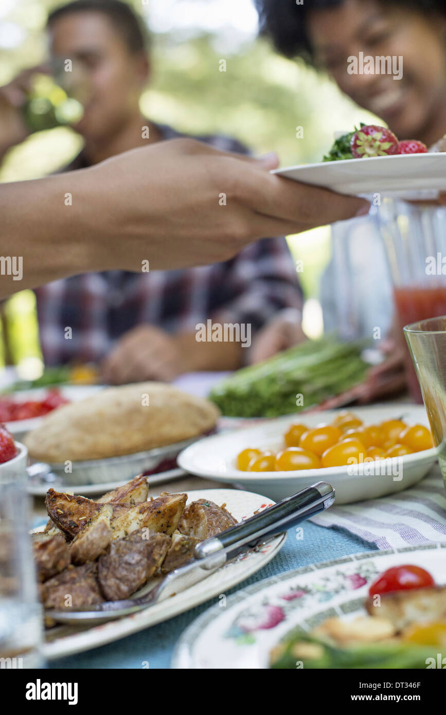 A family picnic in a shady woodland Adults and children sitting at a table - Stock Image