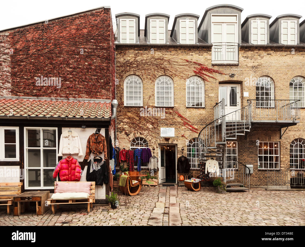 An eccentric vintage clothing shop in the Danish city of Aarhus - Stock Image