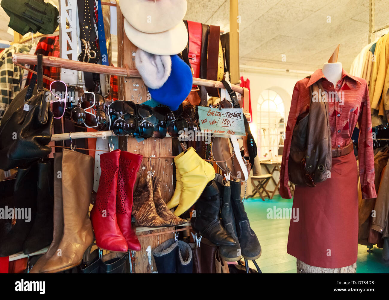 Aarhus. A used or vintage clothing shop or store - Stock Image
