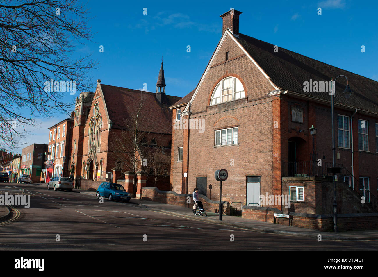 Creed Street Arts Centre and Church Street, Wolverton, Buckinghamshire, England, UK - Stock Image