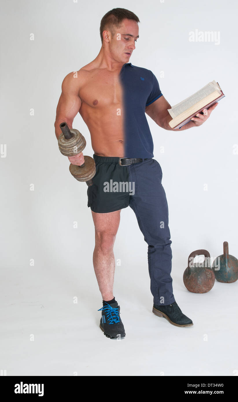 Man Playing Sports And Reading A Book Stock Photo