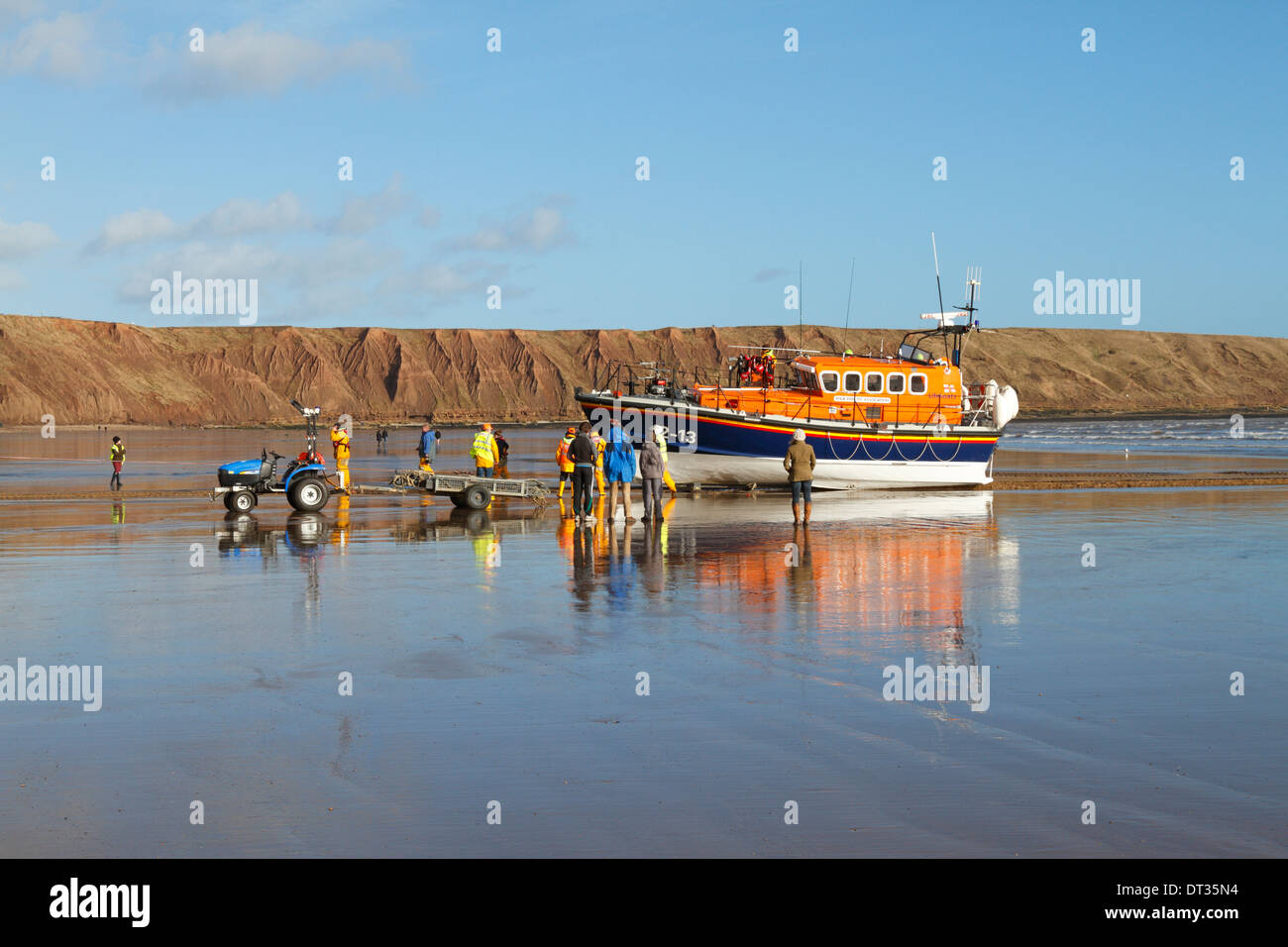 RNLI Lifeboat returning from a sea exercise off Filey, North Yorkshire, England, UK. - Stock Image