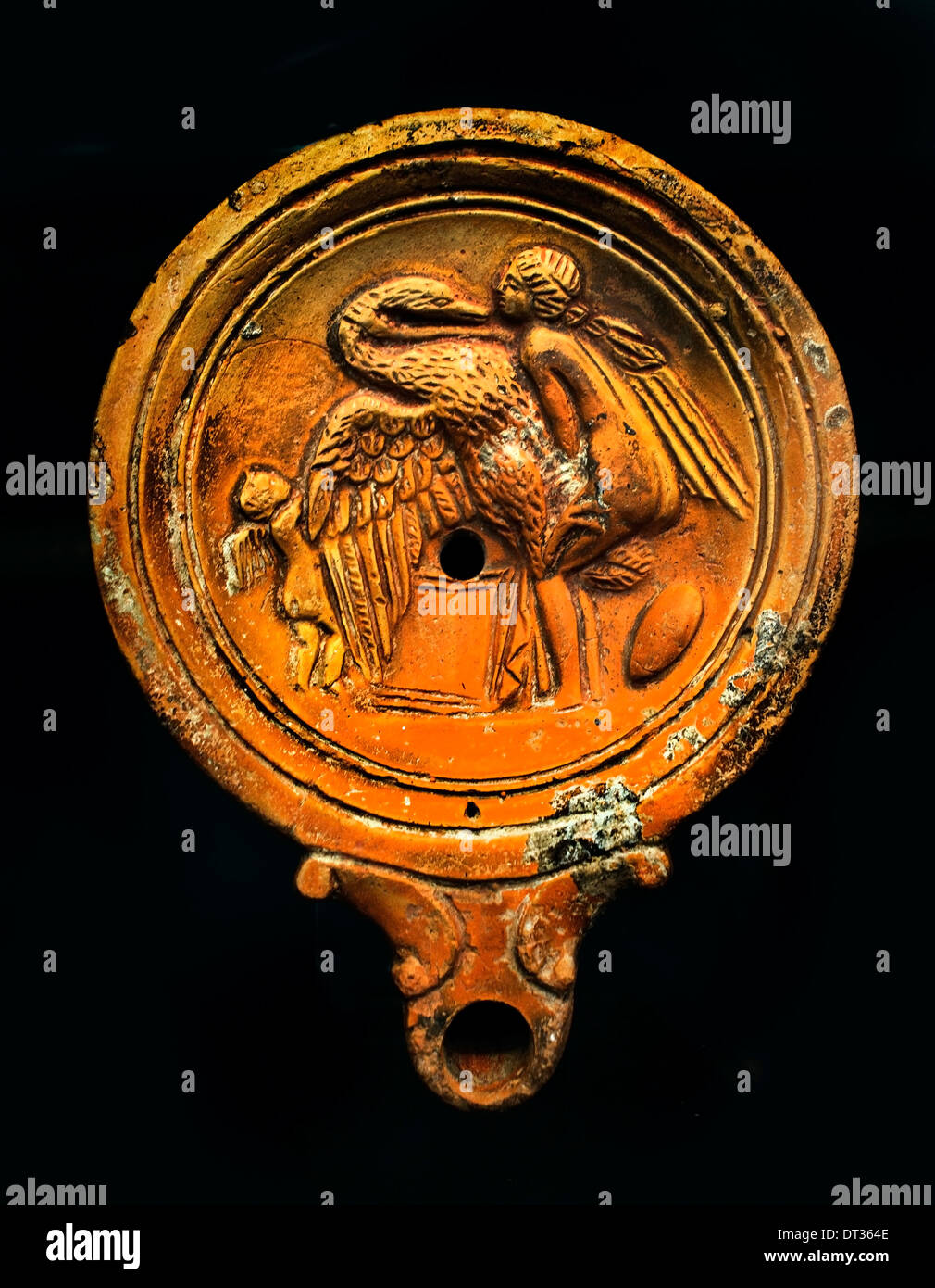 Leda and the Swan (Zeus in form of a swan, the Spartan queen Leda ) Roman Oil  Lamp 100 AD Italy - Stock Image