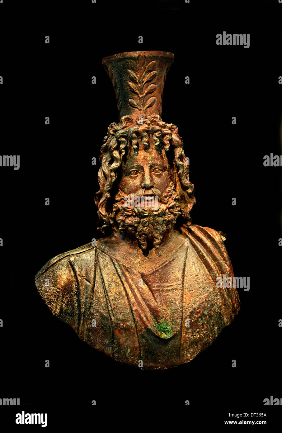 Serapis with rich hair and beard (  father deity ) Bronze  Roman God 100 AD Italy Italian - Stock Image