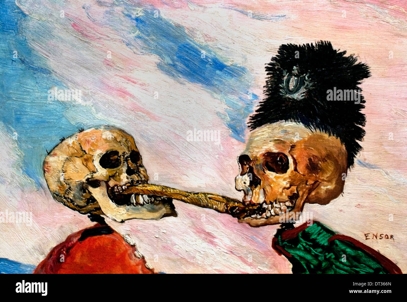 Skeletons Fighting over a Smoked Herring  by James Ensor 1860-1949 Belgium Belgian - Stock Image