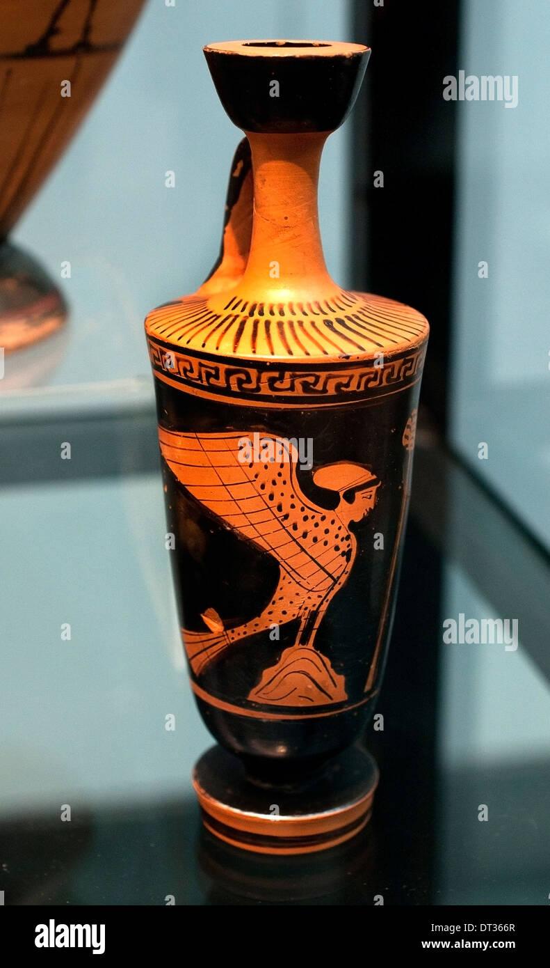 Siren (bird with girl head ) Attic amphora 550 BC  Greek Greece - Stock Image