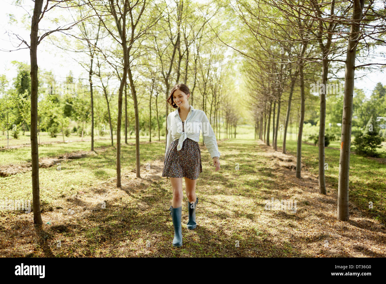 A young woman walking down an avenue of trees in woodland Stock Photo