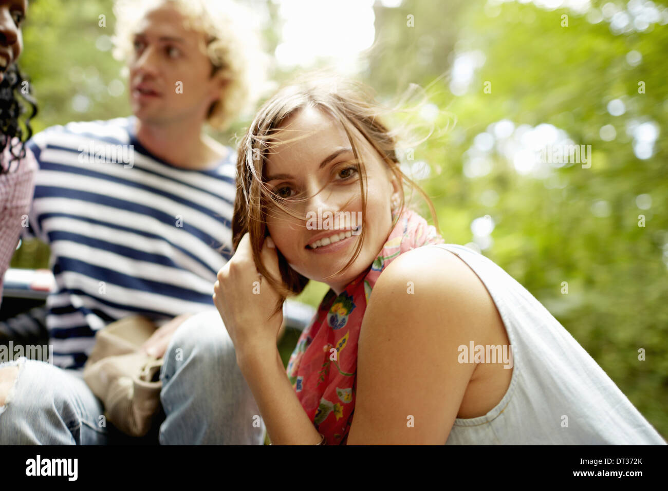 couple a young man and woman in woodland - Stock Image