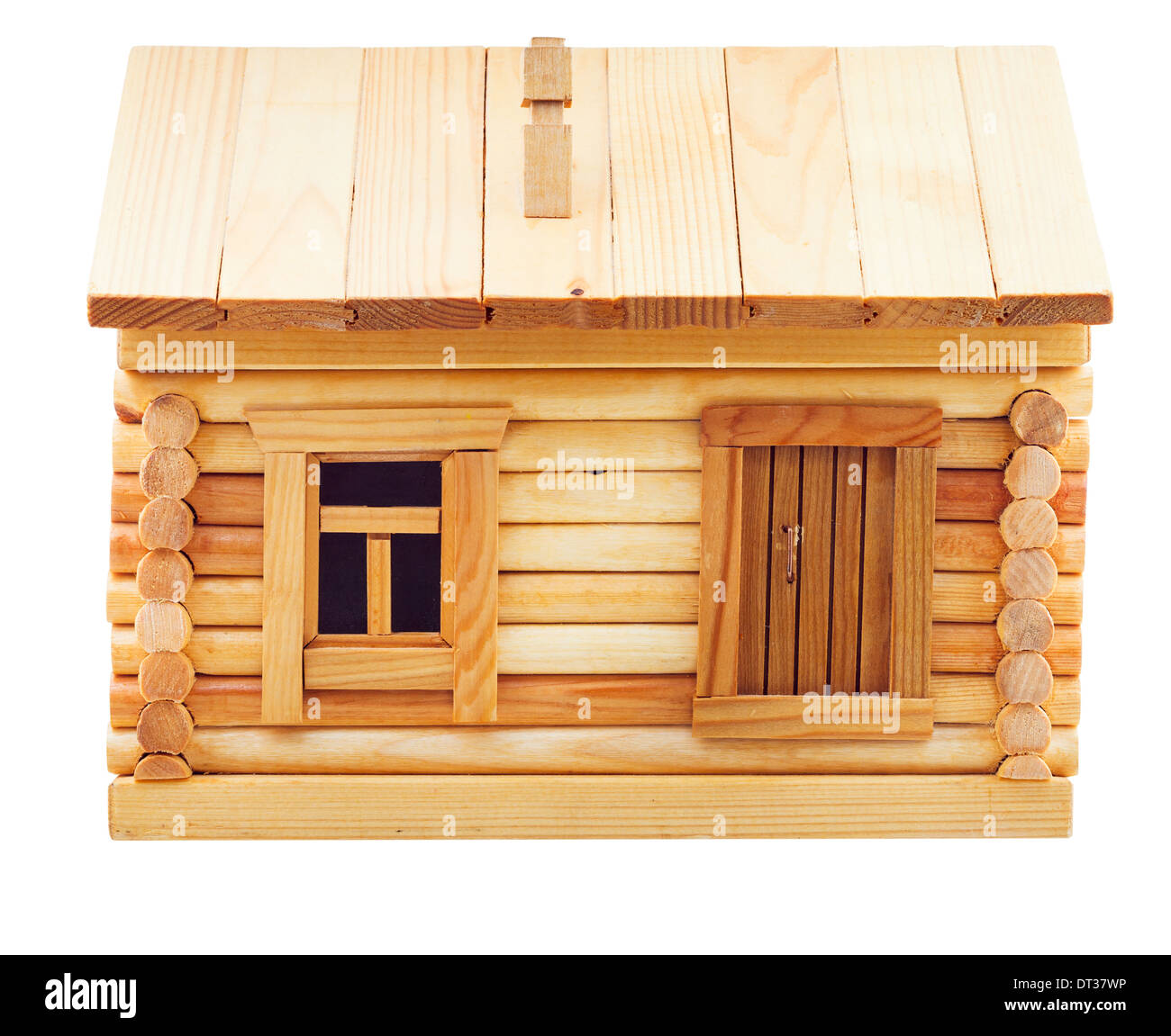 front view of simple village wooden log house isolated on white background - Stock Image