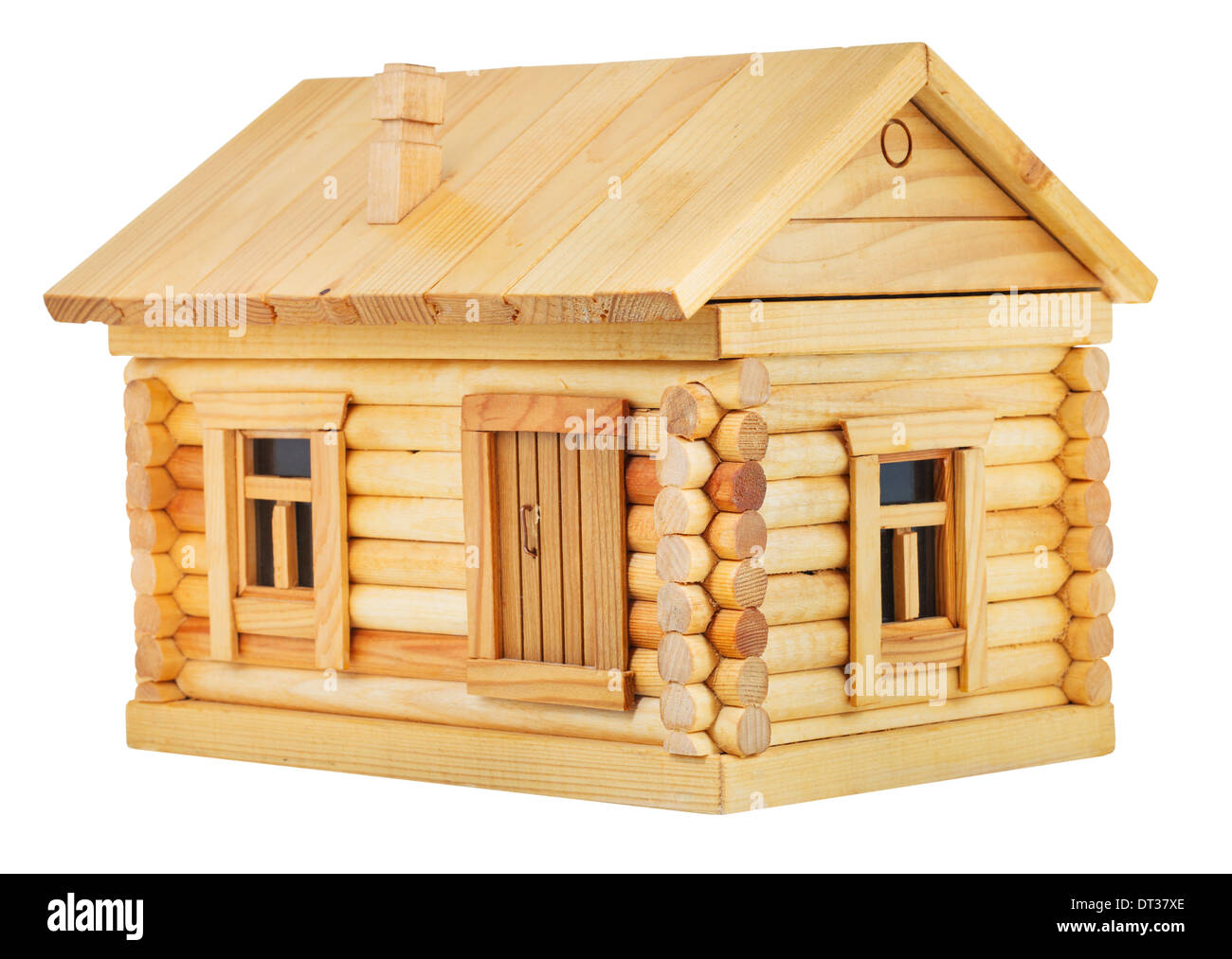 model of simple village wooden log house isolated on white background - Stock Image
