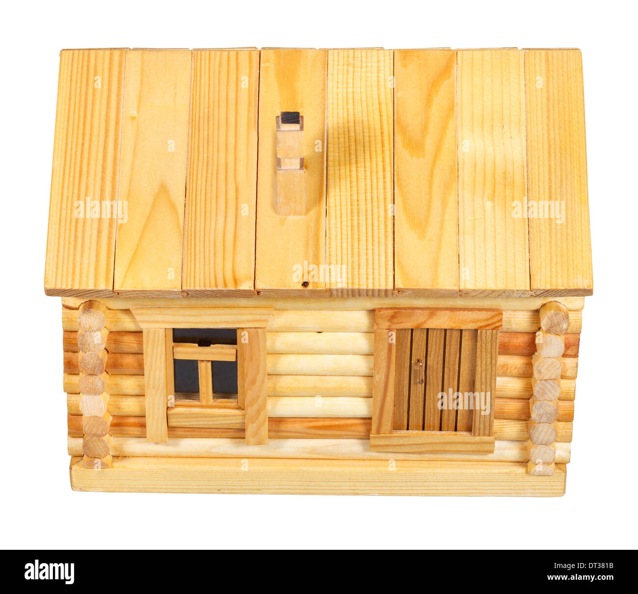 above view of facade of model of simple village wooden log house isolated on white background - Stock Image