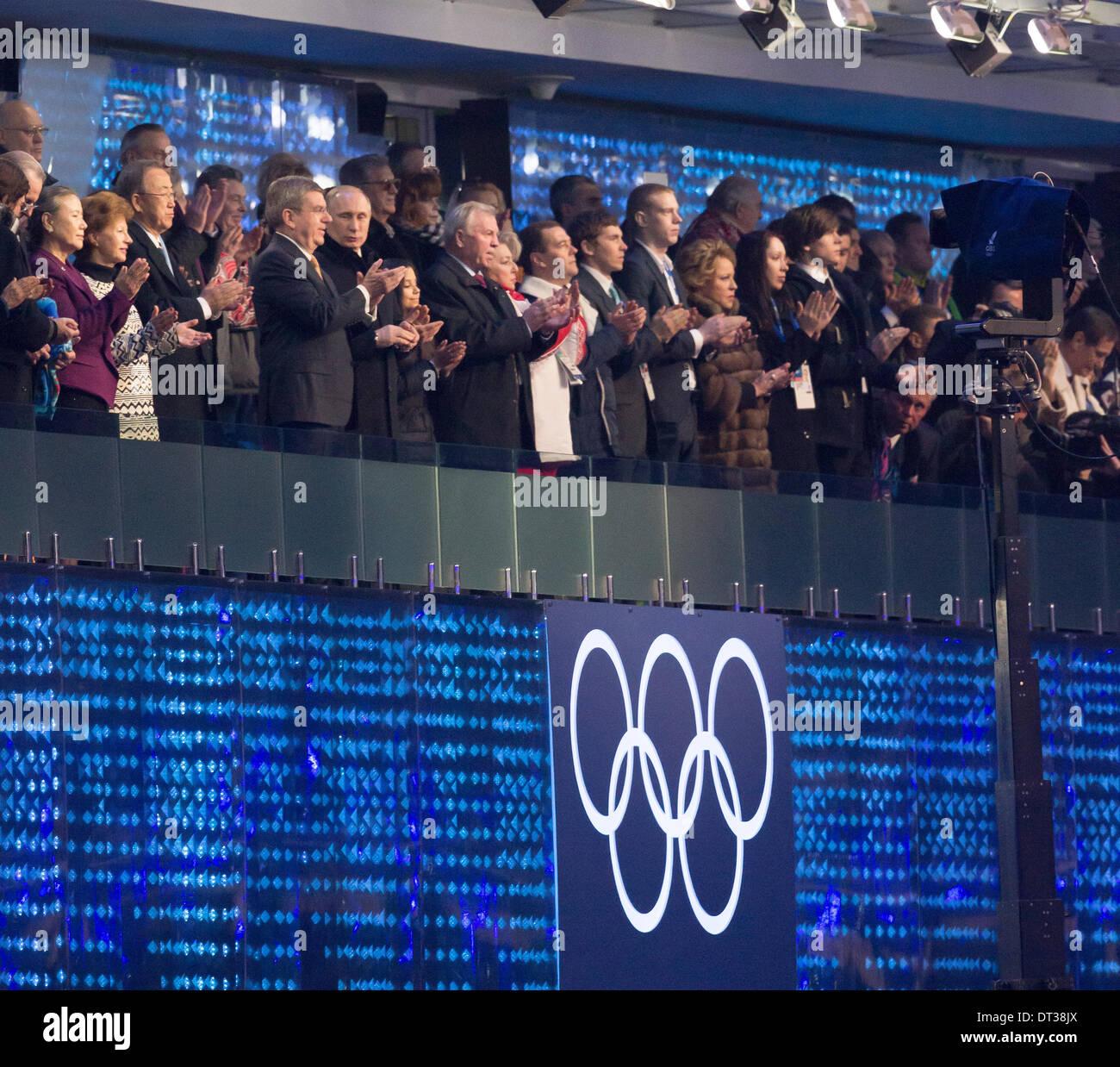 Sochi, Krasnodar Krai, Russia. 07th Feb, 2014. Sochi, Russia. 07th Feb, 2014. Opening Ceremonies for the XXII Olympic Winter Games Sochi 2014. FISHT Stadium, Adler/Sochi, Russia. President Vladmir Putin and IOC President Jacques Rogge watching the ceremony Credit:  Action Plus Sports Images/Alamy Live News - Stock Image