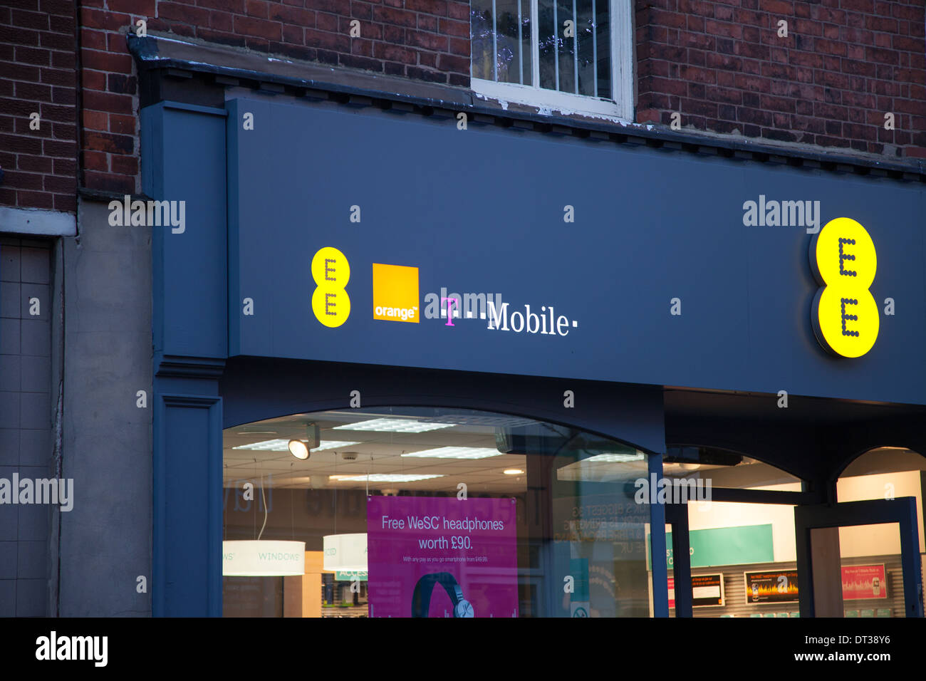 Sign on the front frontage or facade of the E and E shop in Macclesfield Cheshire England UK - Stock Image
