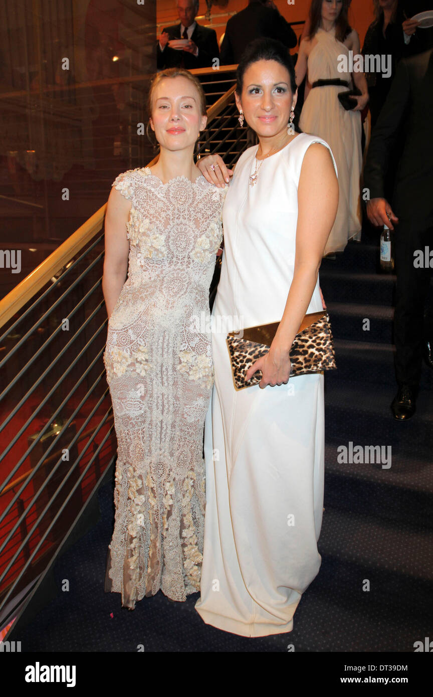 Franziska Petri and Minu Barati Fischer during the opening party at the 64th Berlin International Film Festival / Berlinale 2014 on February 6, 2014 in Berlin, Germany. - Stock Image