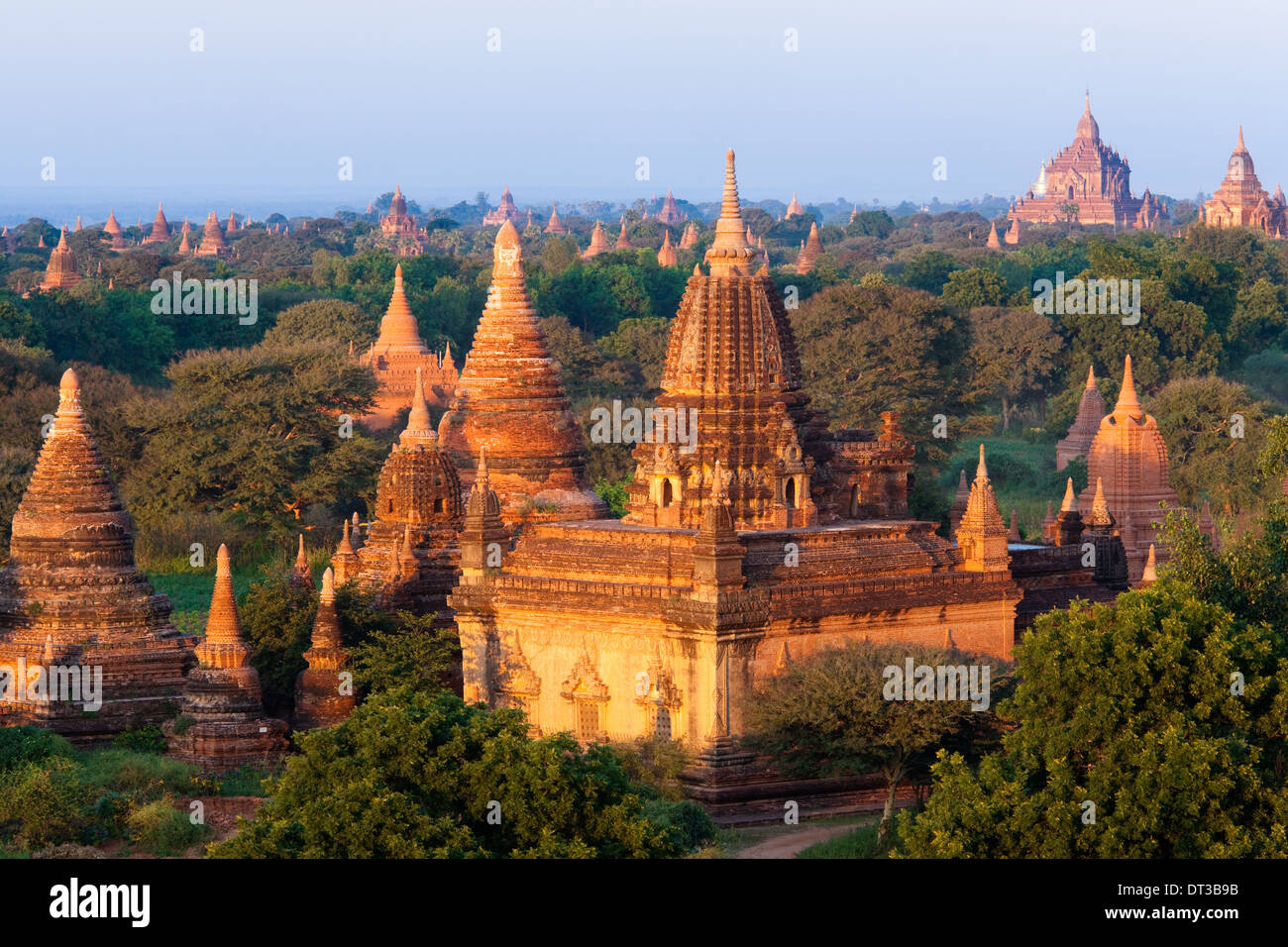 Stupas in the Bagan Archaeological Zone in Bagan, Myanmar - Stock Image