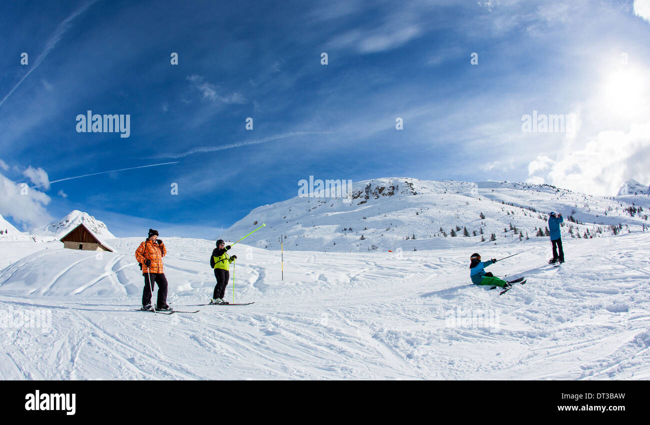 Skiers On The Piste La Plagne French Alps - Stock Image