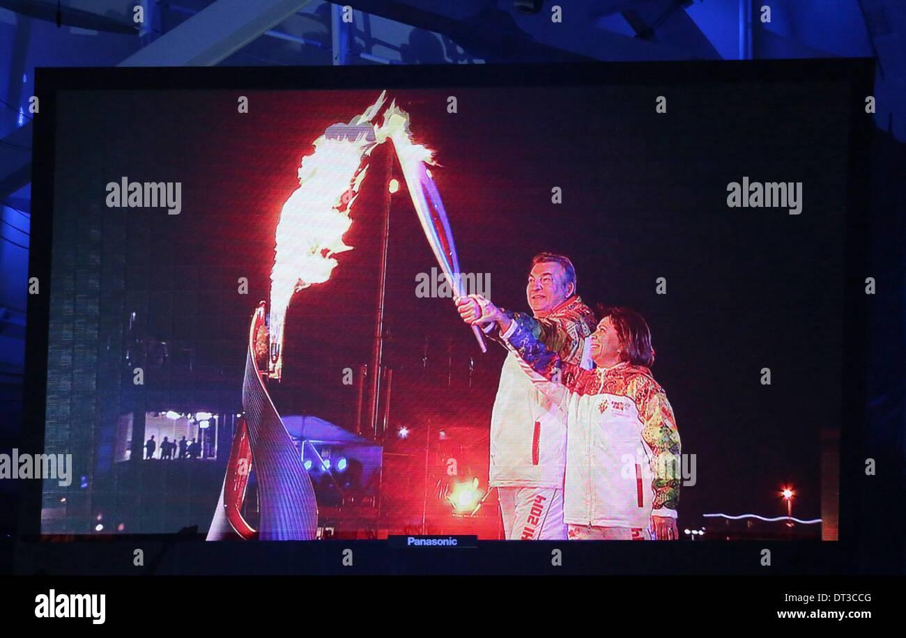 Irina Rodnina and Vladislav Tretyak lit the Olympic flame in Sochi 47