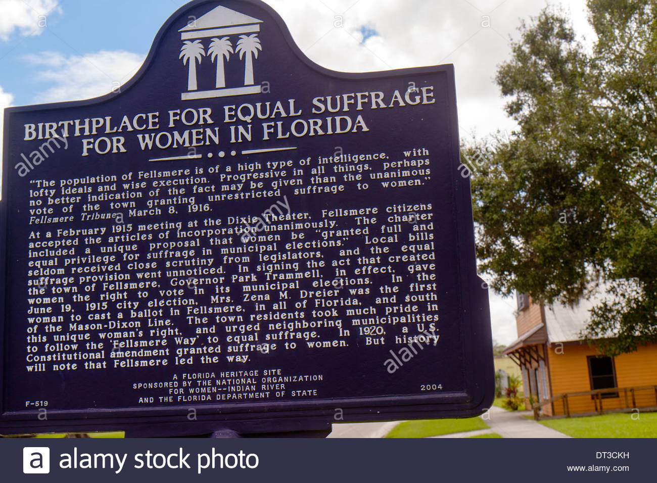 Florida Indian River County Fellsmere Florida Heritage Site marker Birthplace for Equal Suffrage for Women in Florida suffrage - Stock Image