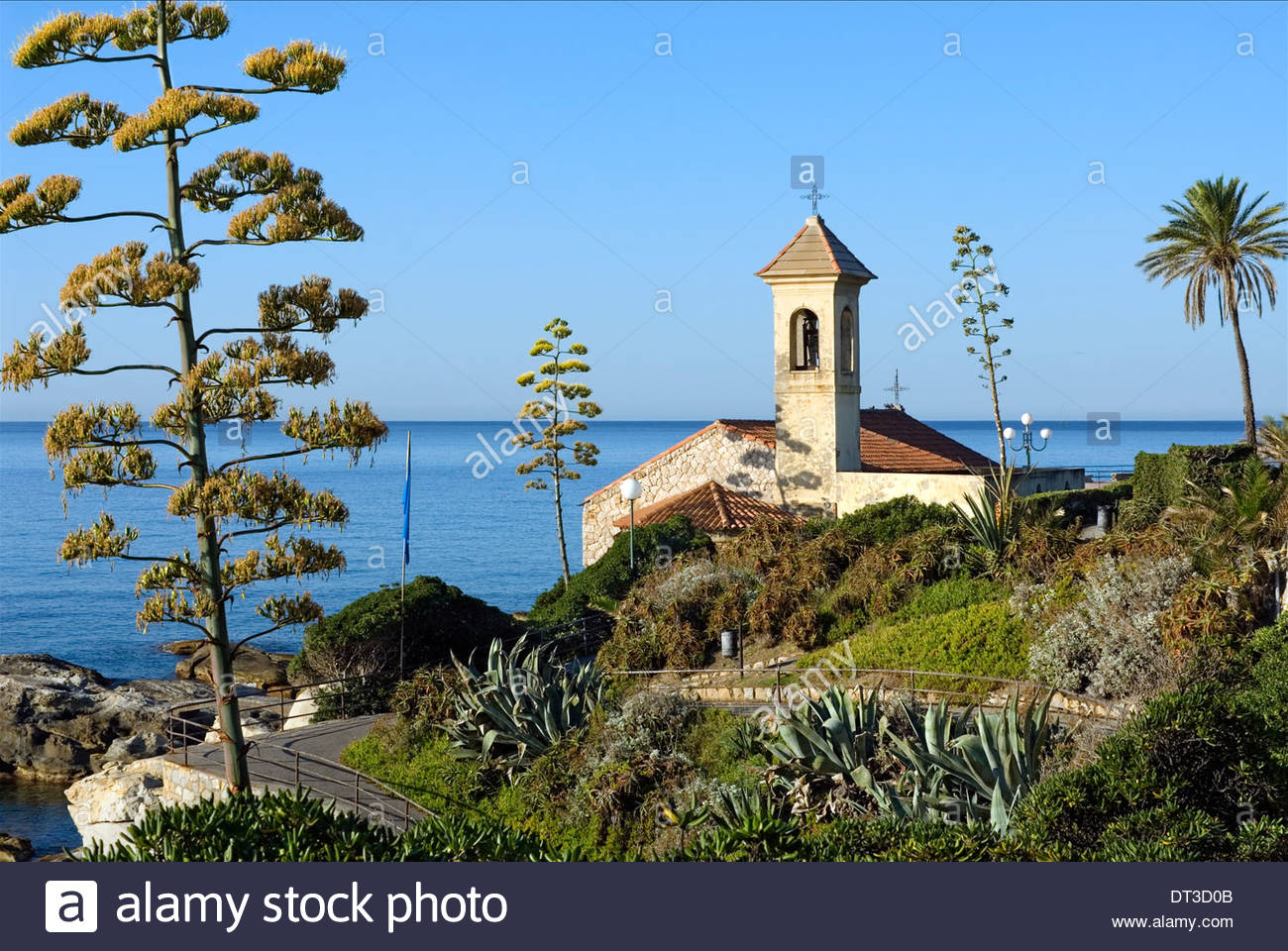 Chiesa di Sant' Ampelio at the Coastline of Cape S. Ampelio in Bordighera, Liguria, North West Italy. - Stock Image