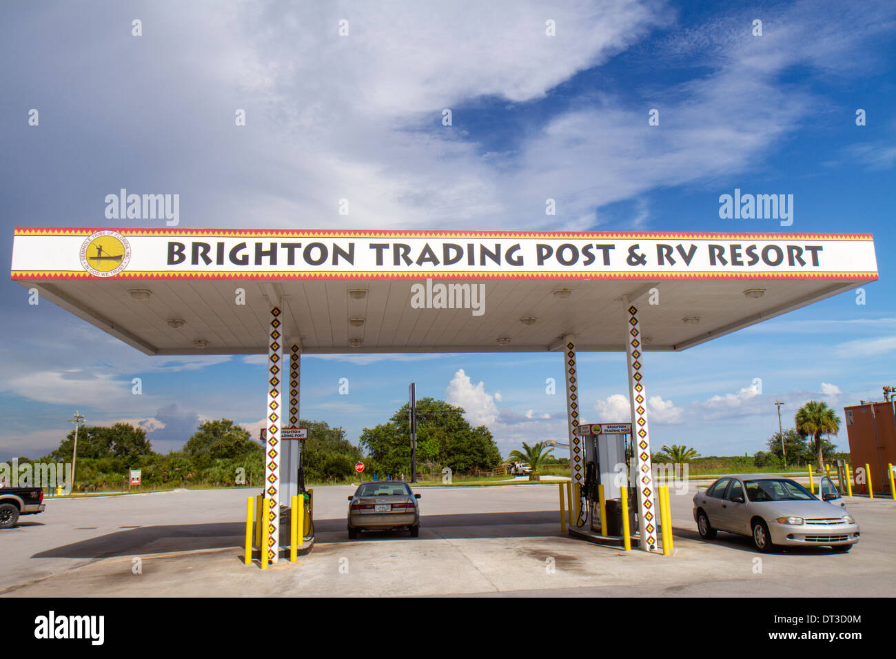 Florida Okeechobee Seminole Tribe Brighton Indian Reservation Native American Trading Post & RV Resort gas station petrol gasol - Stock Image