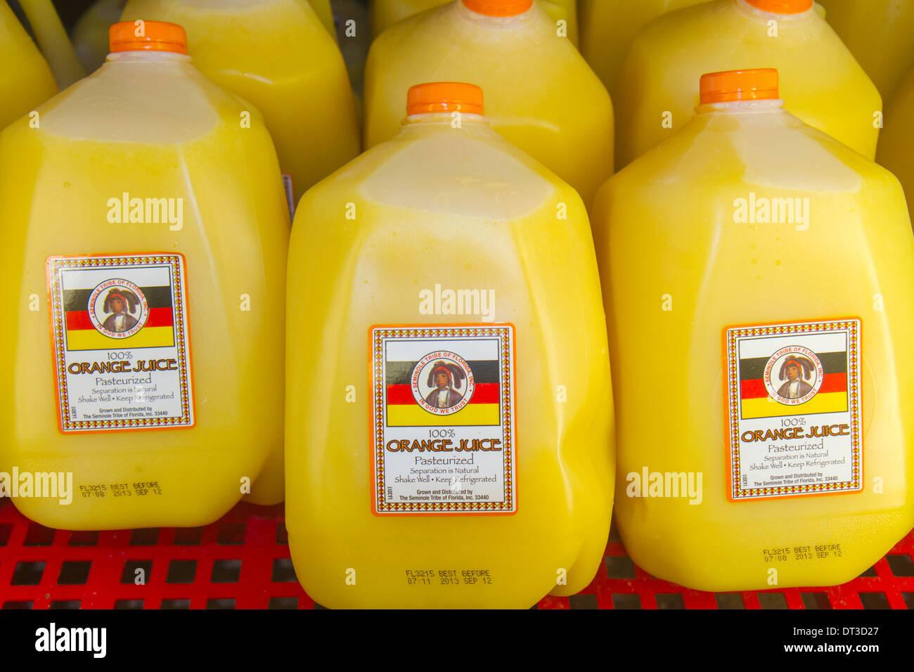 Florida Okeechobee Seminole Tribe Brighton Indian Reservation Native American Trading Post & RV Resort orange juice gallon plas - Stock Image