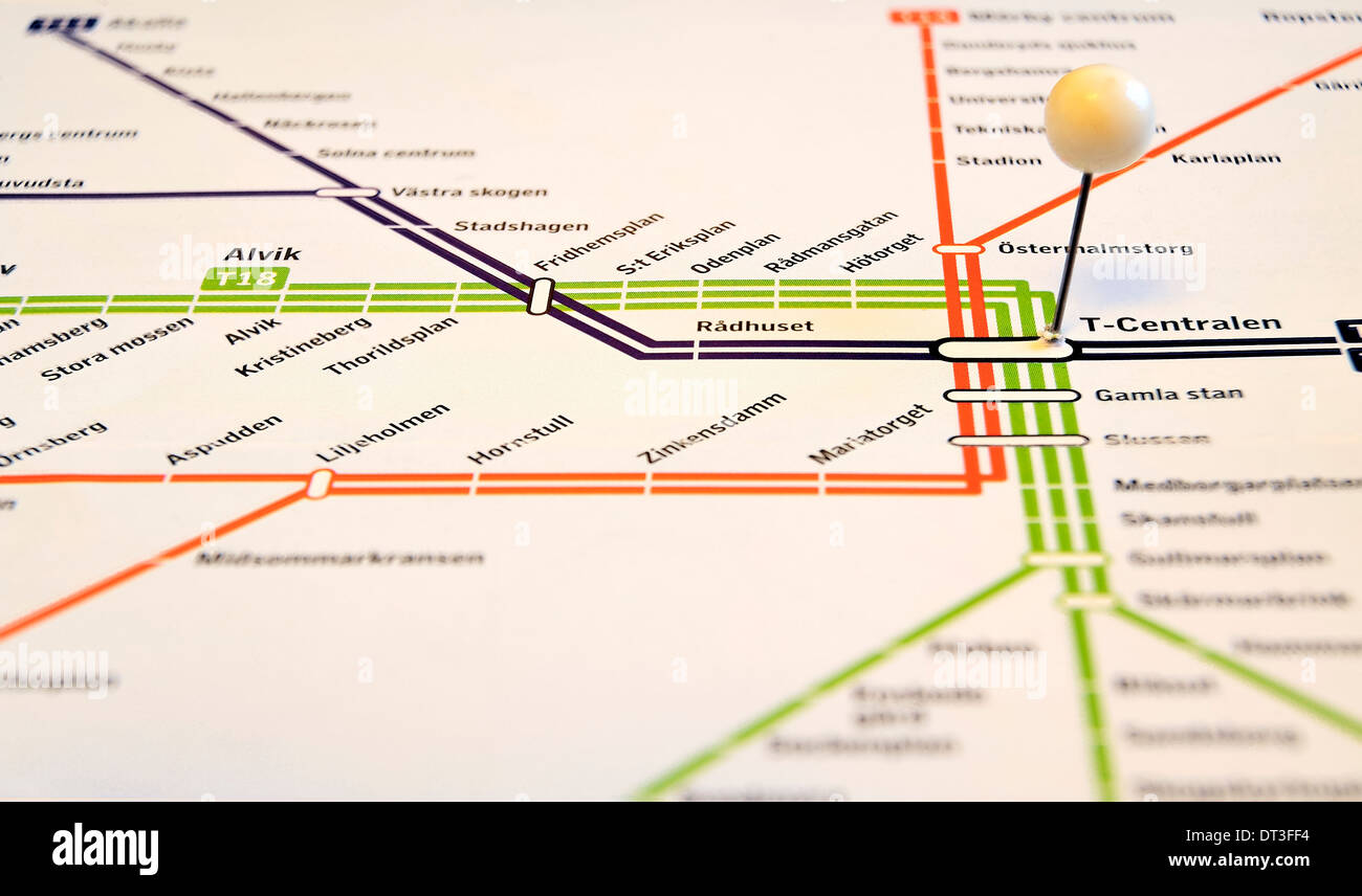 Stockholm subway, with T-Centralen in focus Stock Photo