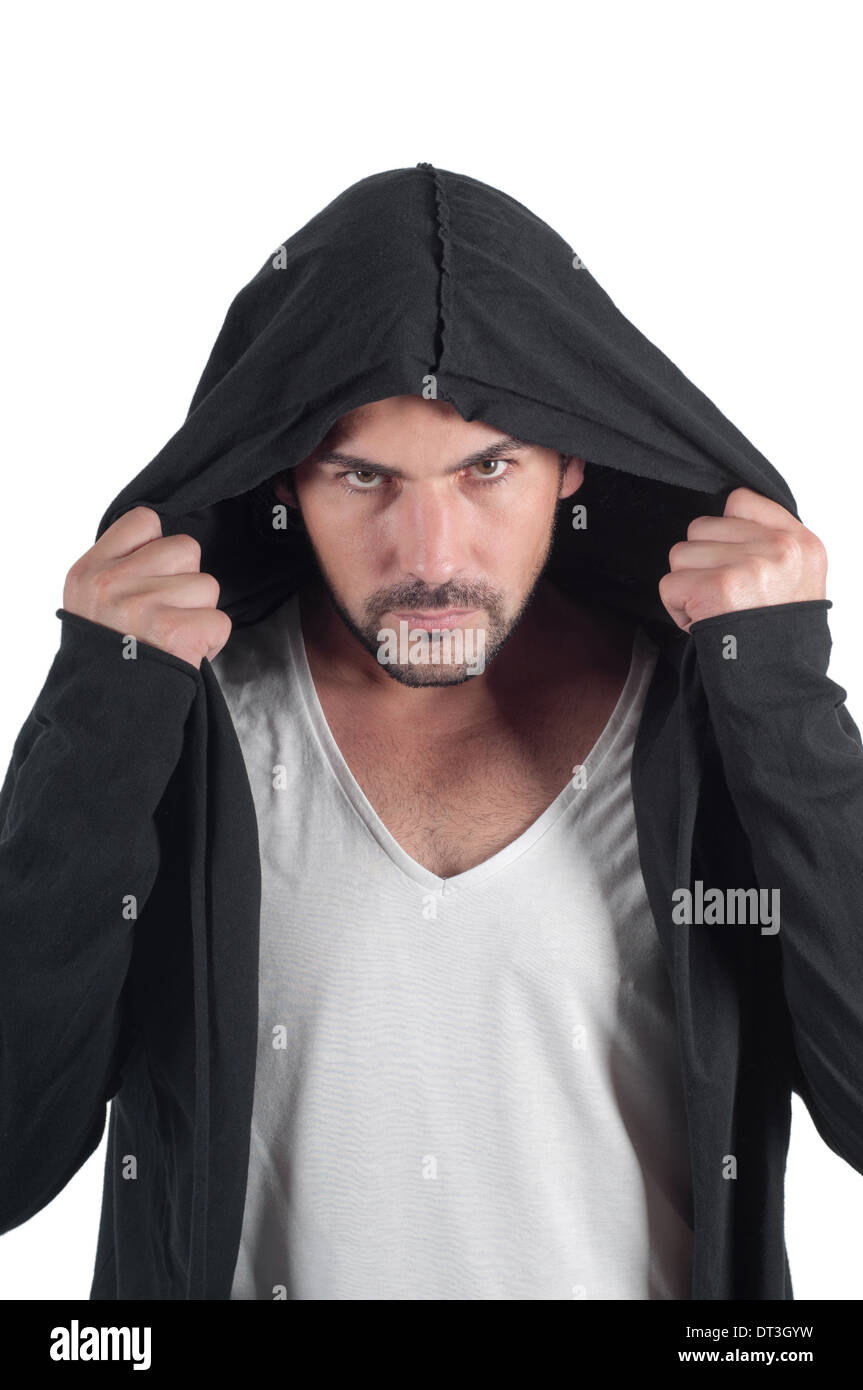Portrait of a young angry man in the hood - Stock Image