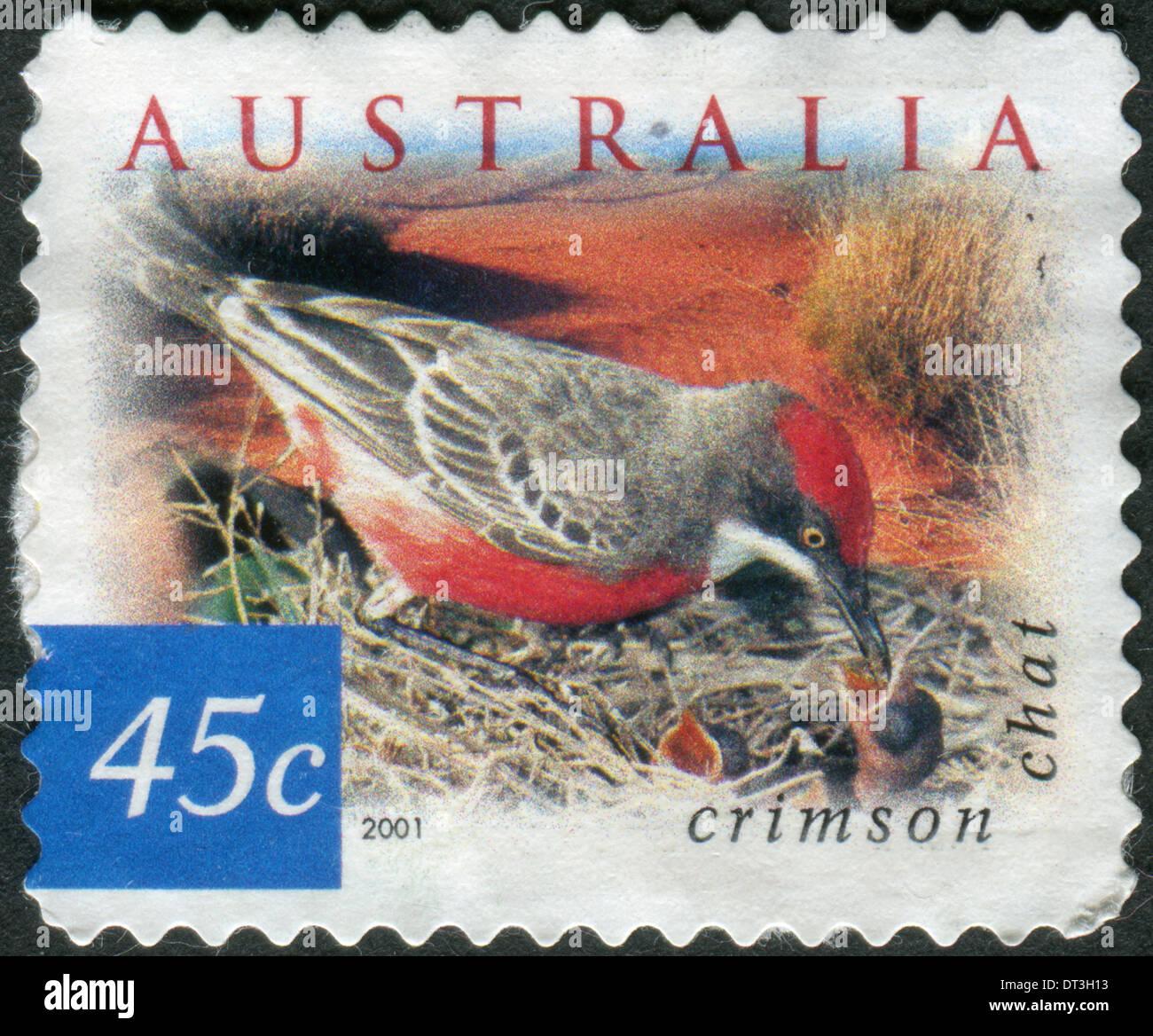 AUSTRALIA - CIRCA 2001: Postage stamp printed in Australia, shows bird Crimson Chat (Epthianura tricolor), circa 2001 - Stock Image