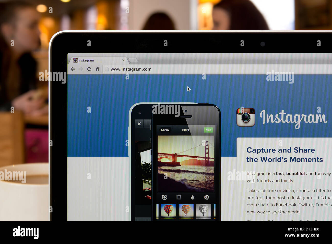 The Instagram website shot in a coffee shop environment (Editorial use only: ­print, TV, e-book and editorial - Stock Image