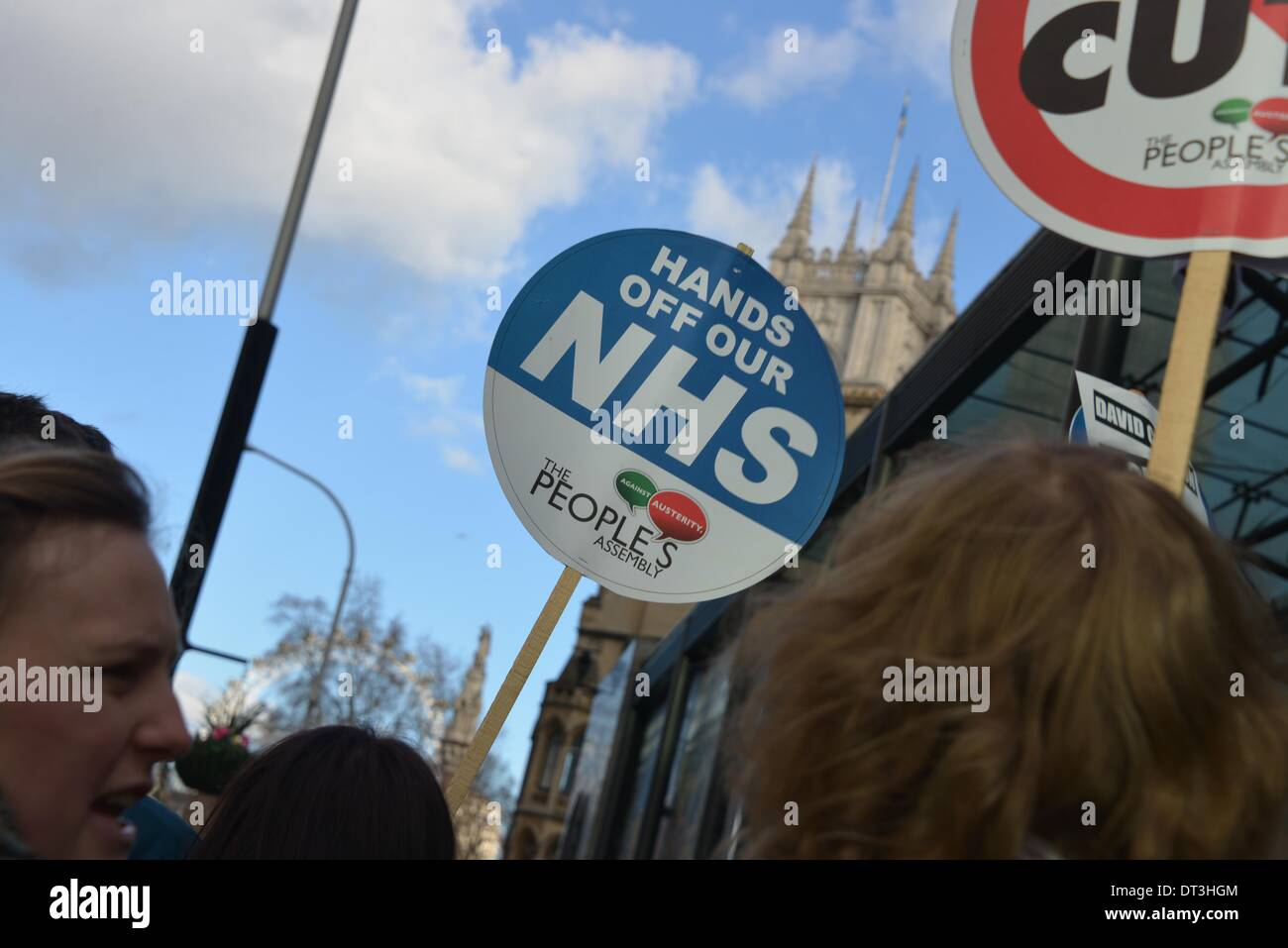 London England, 7th January 2014 : A group of students protest against Con-Dem government has confirmed that it Stock Photo