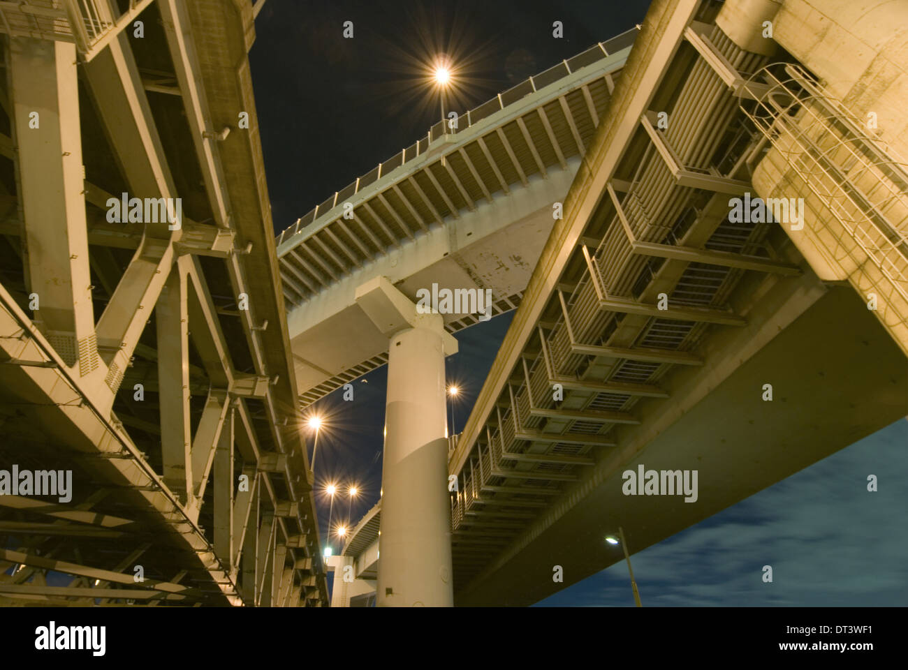 highways structure background over night sky - Stock Image