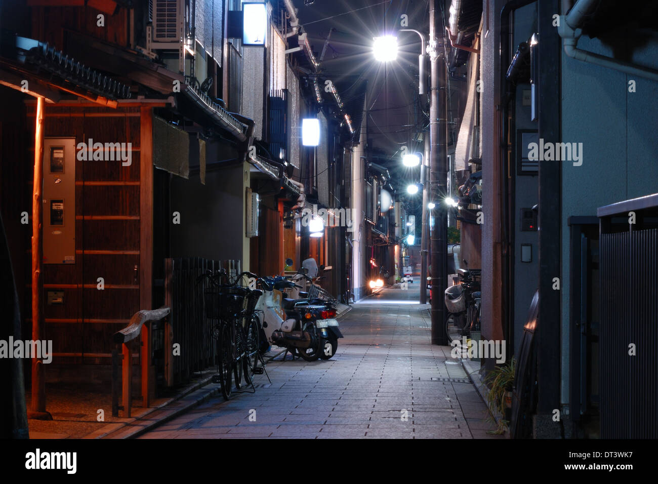 Kyoto night street  at well-known Gion area - Stock Image