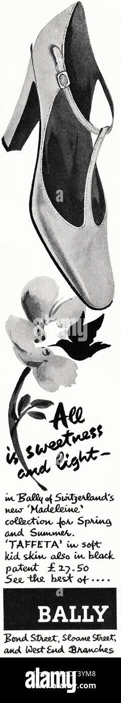 1970s fashion magazine advertisement advertising BALLY lady's shoes, advert circa 1975 - Stock Image