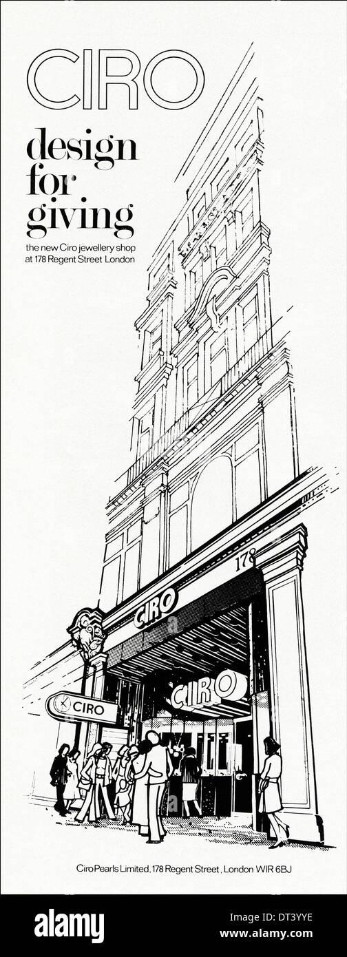 1970s fashion magazine advertisement advertising new CIRO jewellery shop London, advert circa 1975 - Stock Image