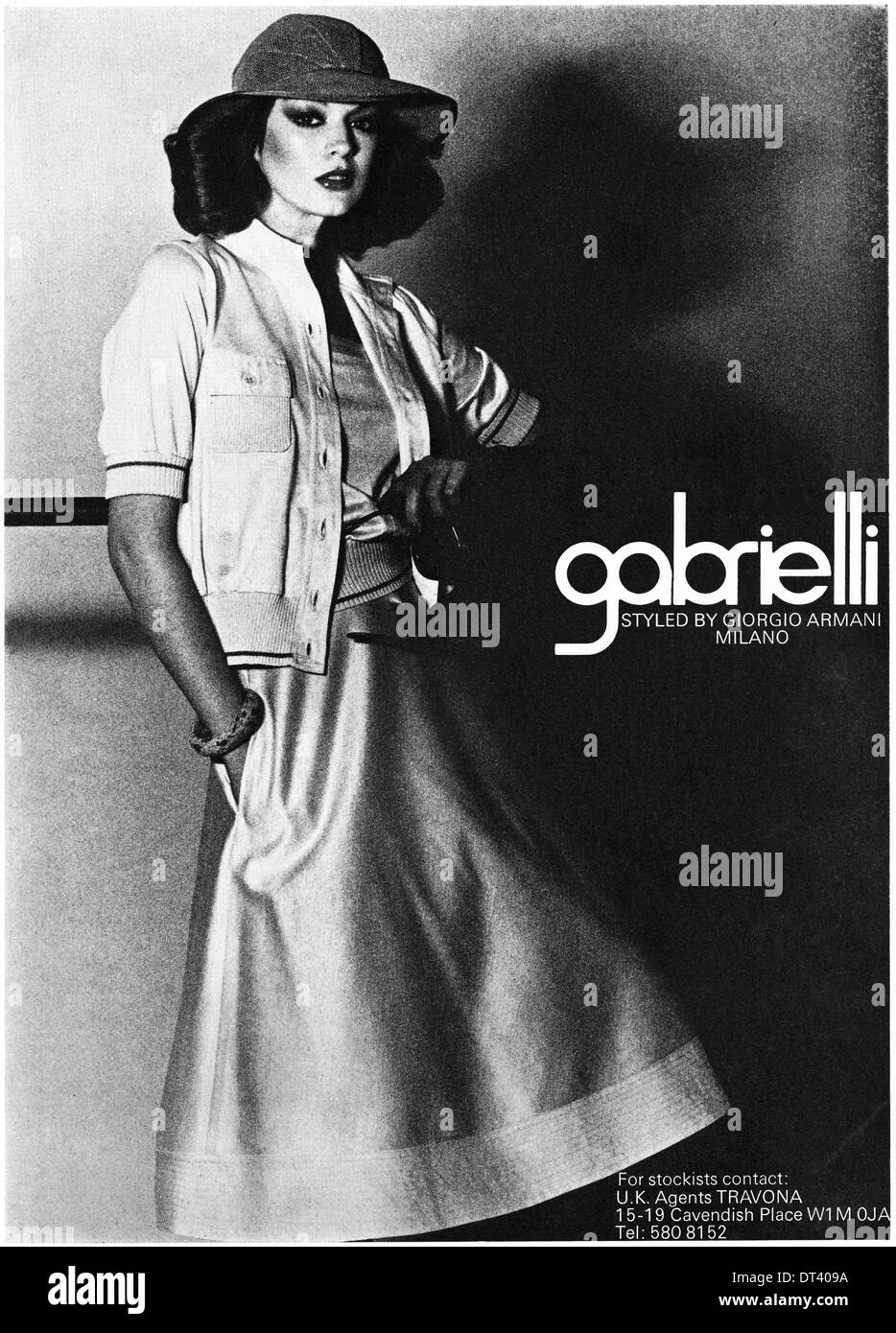 1970s fashion magazine advertisement advertising GABRIELLI women's fashion by Giorgio Armani, advert circa 1975 - Stock Image