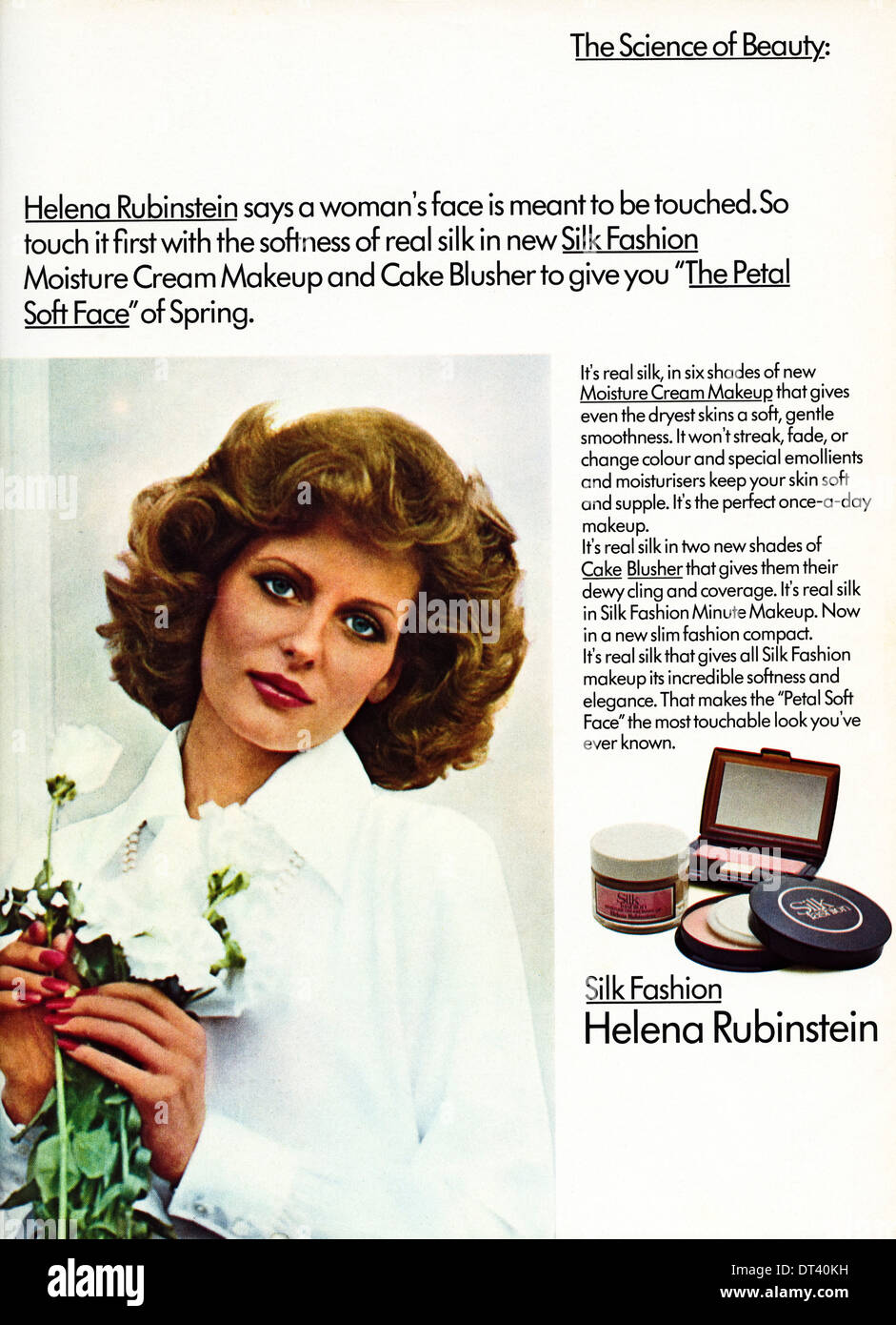 1970s fashion magazine advertisement advertising make up by HELENA RUBINSTEIN, advert circa 1975 - Stock Image
