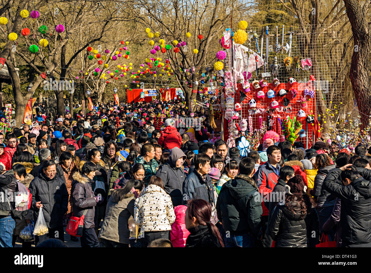 Chinese people crowd to Temple Fair during Chinese New Year Stock Photo