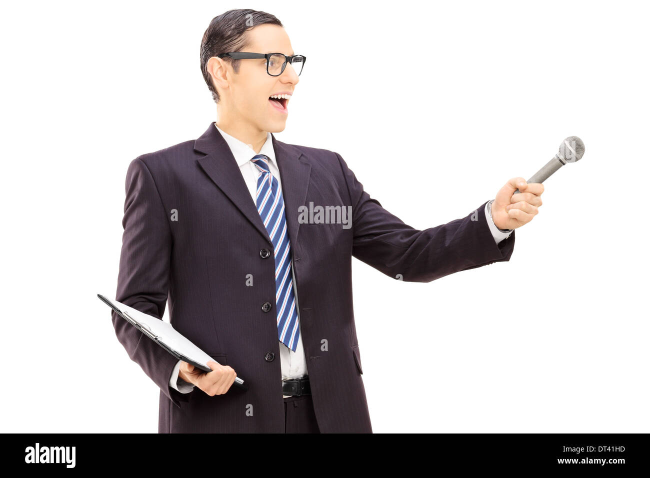Survey conductor holding clipboard and microphone - Stock Image