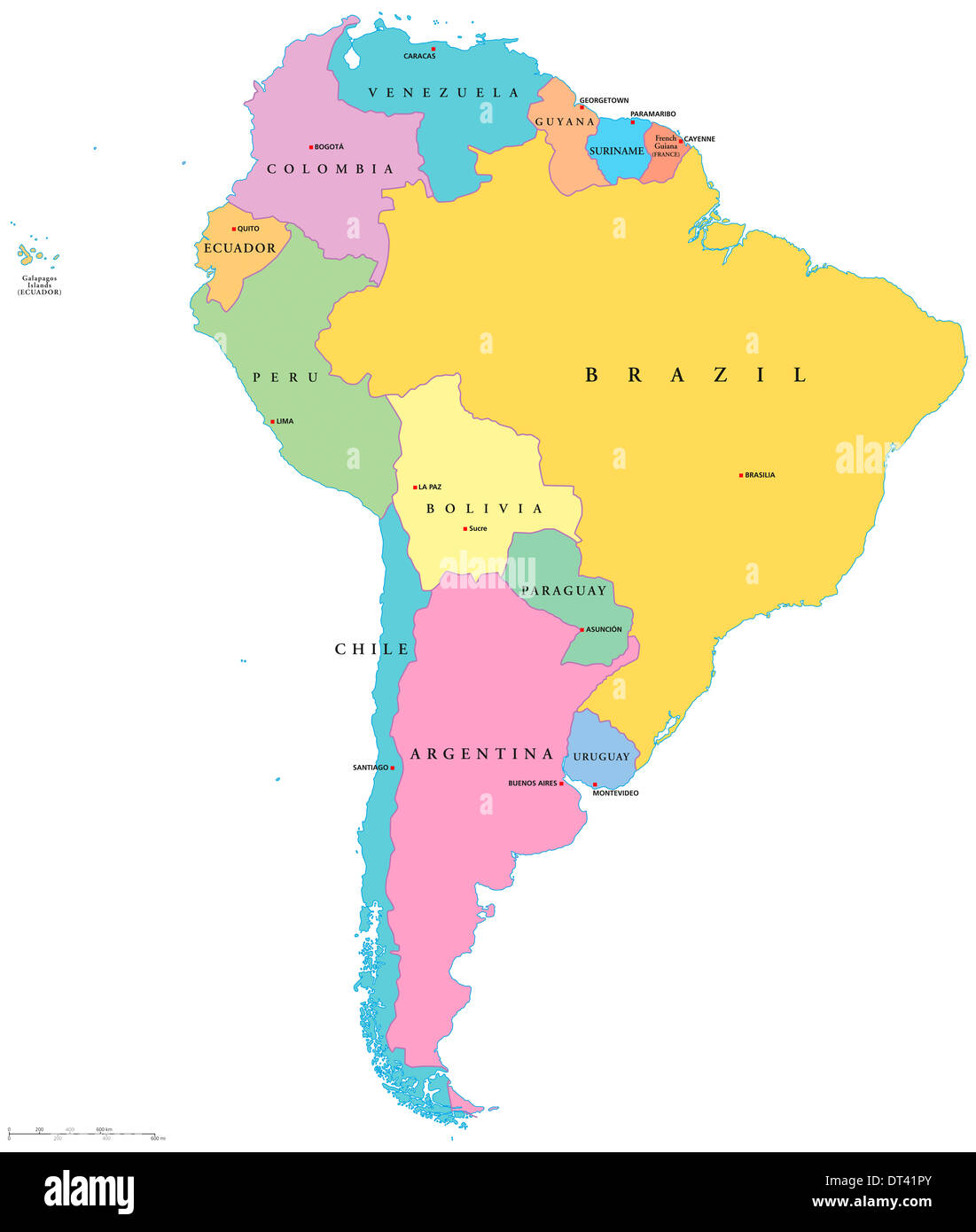 Political Map Of South America With Single States Capitals And Stock
